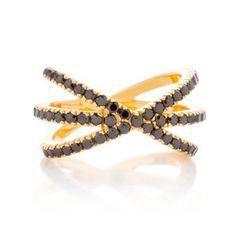 Joanna Dahdah - TRIPLE X RING, BLACK SPINEL