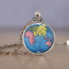 Globe necklace ancient world map pendant silver old map jewellery round world map globe glass dome pendant necklace silver or bronze gumiabroncs Gallery