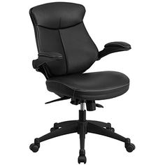 flash furniture midback leather executive swivel office chair with back angle and flipup arms size black