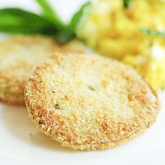 Fried Green Tomatoes - a delicious low carb, gluten- and dairy-free version of this Southern classic!