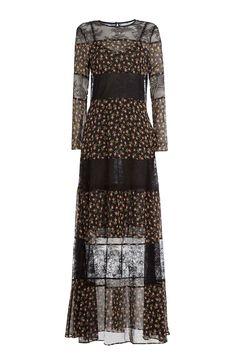 Philosophy di Lorenzo Serafini - Floor Length Printed Silk Dress with Lace