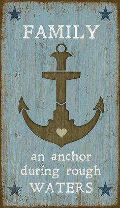 Coastal wall home decor. Presenting the Anchor custom art sign, created from the imagination of artist, Suzanne Nicoll. Beautifully hand crafted in soft nautical colors, with a large anchor plus phrases that can….