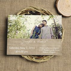 "rustic burlap photo wedding invitations with free rsvp cards // Use coupon code ""rpin"" to get 10% off towards all the invitations. #elegantweddinginvites"