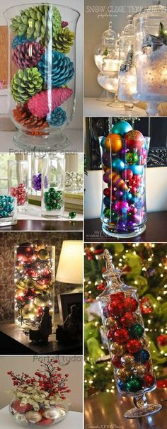 decoracao-criativa-barata-para-natal-ou-festas-ano-novo-com-bolas-vidro - Adorei ! All Things Christmas, Christmas Home, Christmas Holidays, Christmas Wreaths, Christmas Ornaments, Christmas Projects, Holiday Crafts, Holiday Decor, Holiday Ideas