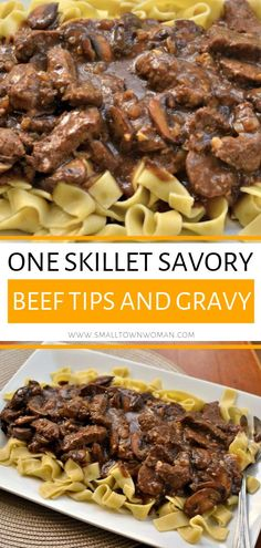 A fast beef tips and gravy recipe that combines beef tenderloin mushrooms onions and garlic in a rich creamy gravy that is lightly seasoned! This One Skillet Savory Beef Tips and Gravy is the ultimate comfort food for dinner! Save this pin! Beef Tip Recipes, Healthy Beef Recipes, Beef Recipes For Dinner, Crockpot Recipes, Cooking Recipes, Game Recipes, Recipes With Beef Tips, Dinner Ideas With Beef, Light Meals For Dinner