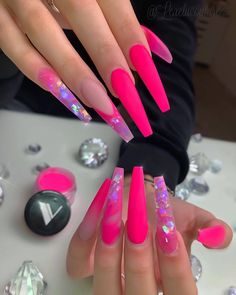 Give style to your nails with nail art designs. Donned by fashionable stars, these nail designs will add immediate style to your outfit. Pink Acrylic Nails, Acrylic Nail Designs, Nail Art Designs, Neon Pink Nails, Nails Design, Long Nail Designs, Bright Nails, Design Art, Purple Nail