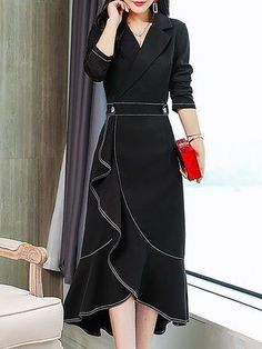 salaş elbise Stylewe Formal Dresses Long Sleeve Wrap Dresses Daily High Low Lapel Elegant Wrap Dresses you can find similar pins below. Simple Dresses, Elegant Dresses, Women's Dresses, Dresses Online, Casual Dresses, Fashion Dresses, Wrap Dresses, Wedding Dresses, Ruffled Dresses