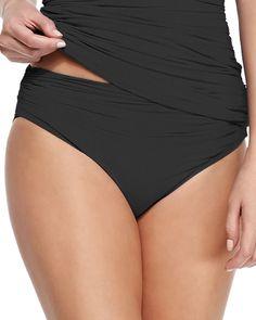 Mediterranean Solids Shirred Swim Bottom, Size: MEDIUM, Black - Carmen Marc Valvo