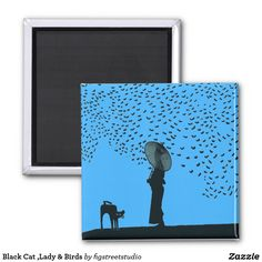 Black Cat ,Lady & Birds Magnet by jerry Schwehm,artist
