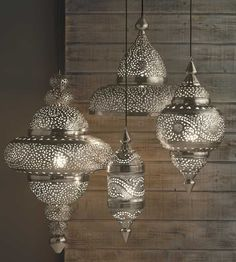 Silver Moroccan Hanging Lamp - www.vivaterra.com