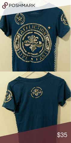 Affliction shirt Royal blue & white Affliction Tops