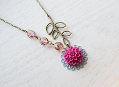 Maroon Purple Flower Cabochon Necklace Flower Necklace by KimFong, $18.00