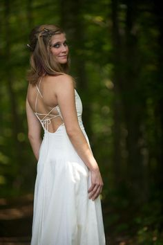 Tara Lynn Bridal makes bohemian and hippie wedding dresses with seashell trains, custom made with feathers, beads, gem stones and hemp twine. Cotton Wedding Dresses, Backless Lace Wedding Dress, Our Wedding, Wedding Ideas, Bridal Collection, Dress Making, Organic Cotton, Lace Up, Bohemian