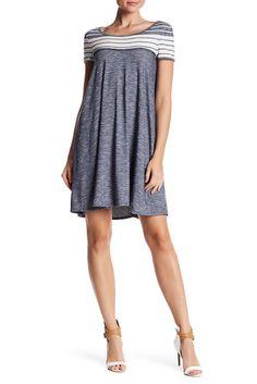 Image of Max Studio Short Sleeve Stripe Yoke Dress