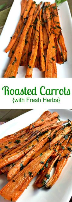 Best Healthy Recipes: Roasted Carrots with Fresh Herbs - Chocolate Slope. Side Dish Recipes, Vegetable Recipes, New Recipes, Cooking Recipes, Favorite Recipes, Healthy Recipes, Vegetable Side Dishes, Healthy Side Dishes, Good Food