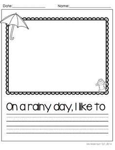 $ April Printable Packet - Kindergarten Literacy and Math. Rainy Day Writing Prompt! [Ms. Makinson]