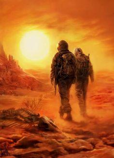 Landscape. Desert. wanderers with guns. Forbidden Zone
