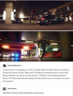 Bucky literally running on top of a car like nbd (Captain America: Civil War teaser trailer)