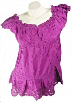 DARK CERISE EMBROIDERED COTTON SHORT SLEEVE TIERED TUNIC TOP, NEW LOOK SIZE 12