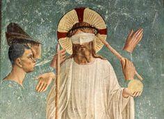 Fra Angélico. La burla a Cristo. Mural en el Convento de San Marcos.
