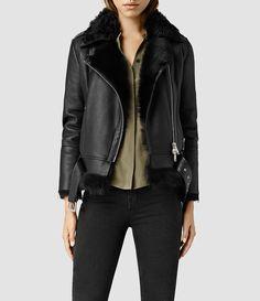 Women's Emerson Leather Biker Jacket (Black) - product_image_alt_text_2