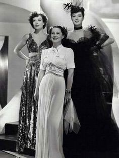 The Women, Joan Crawford, Norma Shearer, Rosalind Russell 40s gowns models movie stars photo print ad promo white black