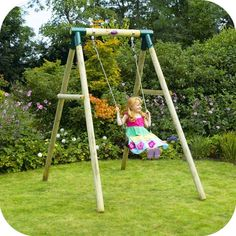 Plum® Bush Baby® Wooden Garden Swing Set - Children will love outdoor play with the Plum® Bush Baby® garden swing set! This wooden framed play set has one swing with soft feel ropes and heavy duty blow moulded seat for extra durability. Baby Garden Swing, Baby Swing Set, Wooden Garden Swing, Kids Swing, Wooden Swings, Dream Garden, Outdoor Baby, Outdoor Toys, Outdoor Fun