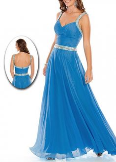 Stylish Chiffon A-line V-neck Floor Length Ruched Prom Dress With Beaded Straps