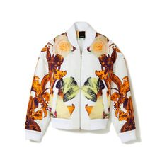 Flower Brocade Bomber Jacket (1,765,640 KRW) ❤ liked on Polyvore featuring outerwear, jackets, tops, coats, brocade jacket, bomber style jacket, straight jacket, flower jacket and flight jacket