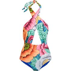 8d807eb032 Mara Hoffman Printed cutout halterneck swimsuit ( 290) ❤ liked on Polyvore  featuring swimwear