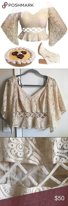 Bebe lace cutout peplum 🍩 Lace peplum with bell sleeves!  🍩 Gold zipper back, XS but could fit larger (my measurements are 36-26).   🍩 Ask for bundle deals, discounts, and more info on any listing! bebe Tops Crop Tops