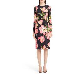Women's Dolce&gabbana Tulip Print Cady Sheath Dress (147.195 RUB) ❤ liked on Polyvore featuring dresses, rose pink, white dresses, floral sheath dress, rose pink dress, pink long sleeve dress and white long sleeve dress