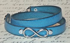 Infinity Turquoise Leather Double Wrap Bracelet by DesignsByJen1