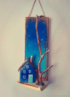 """Buy """"Winter house"""" key keeper in the online store on the Fair Masters The post Buy """"Winter house"""" turnkey Internet Mag … appeared first on Wood Decoration Palette. Driftwood Projects, Driftwood Art, Clay Crafts, Diy And Crafts, Arts And Crafts, Craft Projects, Projects To Try, Wooden Art, Miniature Houses"""