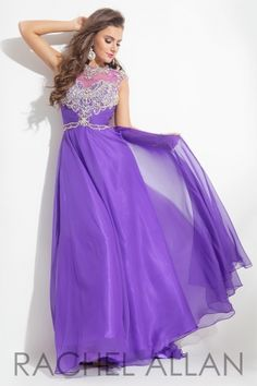 High mesh neckline with detailed beading through bust and a chiffon skirt