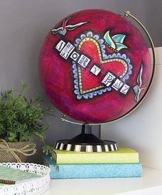 """Paz Y Amor"" Mixed Media Globe -- Turn a plain globe into a ""peace and love"" work of art.  #decoartprojects"