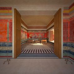 The purpose of this reconstruction is to investigate the relationship of the Triclinium, the famous dining room at the villa of the Mysteries in Pompeii, Italy to its setting within its gardens and its extensive views. Ancient Pompeii, Pompeii Ruins, Pompeii And Herculaneum, Ancient Greek, Roman Architecture, Ancient Architecture, Sustainable Architecture, Landscape Architecture, Fresco