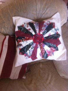 Dresden flower appliqué cushion