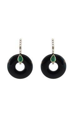 Shop Silvia Furmanovich Black Agate Wheel and Emerald Earrings at Moda Operandi
