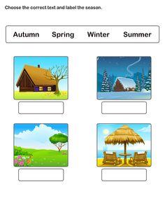 Free Printable Worksheets for Kids, Learn Seasons Worksheets.