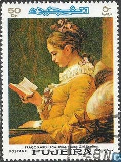 """18th century Fragonard painting 'Young Girl Reading"""" depicted on postage stamp, Fujeira"""