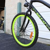 Matte Black & Lime Green! Big Cat ® Ghost Rider. Premium Entry level Electric Bicycle. #350W Rear Hub #Motor, #36V10Ah #LithiumIon #Battery,#20MPH, #Shimano Tourney 7Speed, Front & Rear #LED #lights, Aluminum Frame, 26x1.95 Tires, #bigcat #ebike #electricbike #ebykes  #beach #ghostrider #bicycle #bicicleta. http://www.bigcatelectric.bike