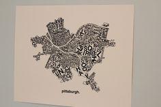 Pittsburgh Neighborhoods Print  Black ink on white by pmollenkof, $60.00