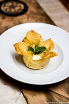 Filoteig, Birne, Amaretto Dessert
