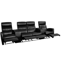Flash Furniture Anetos Series 4-Seat Reclining Black Leather Theater Seating Unit with Cup Holders [BT-70273-4-BK-GG]