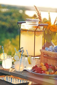 Picnic with refreshing lemonade