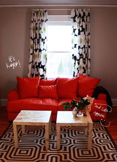 Red Sofa Brown Wall Orange Couch Walls