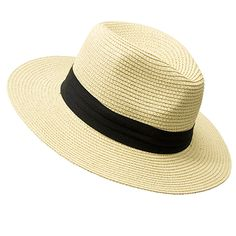 Natural straw hat with black snatch