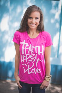 Style your summer with Faith, Hope & Love! Our FHL script tee in pink is a perfect way to help give back to the children we serve! Shop this fashionable look at store.timtebowfoundation.org