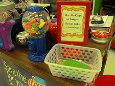 As seen on Pinterest…yes you really can put little erasers into a gum ball machine!  The kids LOVE it….@Teachingisagift: back to school